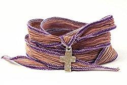 Hammered Cross Wrap Bracelet