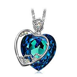 "J.NINA ""Blossoming Carnation"" Heart Design Pendant Necklace Engraved ""I Love you mom"" Made with Swarovski Crystals"