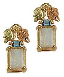 Landstroms 10k Black Hills Gold Earrings with Synthetic Opal and Swiss Blue Topaz – ER3070