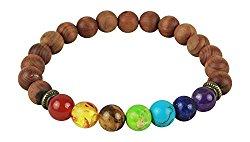 Leboha 7 Chakra Essential Oil Beaded Bracelet Wood Beads, Unisex Essential Oil Jewelry 8mm Bead Size