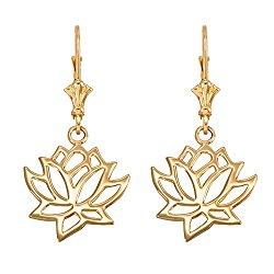 Lotus Flower Leverback Earrings in Polished 14k Yellow Gold