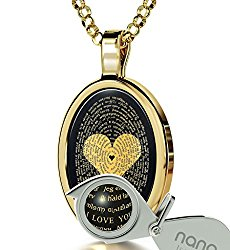 Love Necklace Inscribed with I Love You in 120 Languages in 24k Gold on Onyx Pendant, 18″ – NanoStyle Jewelry