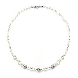 Mariell Handmade Graduated Ivory Pearl Bridal Necklace with Silver Rhinestone Crystal Fireball Accents