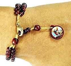 Mens Womens Saint St Michael Cherry Wooden Rosary Bracelet, Made in Brazil