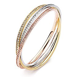 MYJS Trinity Tri-Gold Plated Interlocking Eternity Crystal Bangles Bracelet