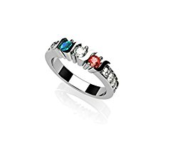NANA S-Bar With Sides Mother's Ring 1 to 6 Simulated Birthstones in Sterling Silver or 10 karat Solid GOLD