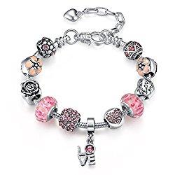 Presentski Silver Plated DIY Creative Charm Adjust(7.1+2.0)inches Bracelet Show Love Gift for Girls