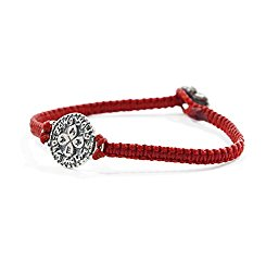 Red Macrame Wax Cotton Bracelet with Silver Solomon Seal Love Charm for Women