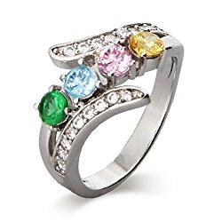 Sterling Silver Custom 4 Stone CZ Bypass Simulated Birthstone Mother's Ring, sizes 5 to 9