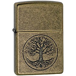 Tree Of Life Antique Brass Zippo Outdoor Indoor Windproof Lighter Free Custom Personalized Engraved Message Permanent Lifetime Engraving on Backside