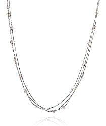Triple Strand 925 Sterling Silver Necklace with Original Swarovski Crystals, 18″ + 4″ Extender