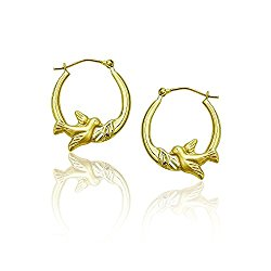 14K Gold Yellow Peace Dove Hoop Earring