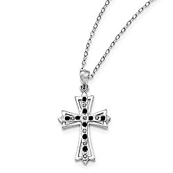 925 Sterling Silver (0.01cttw) Diamond Mystique Black/White Dia Cross Necklace -115 (18in x 1mm)