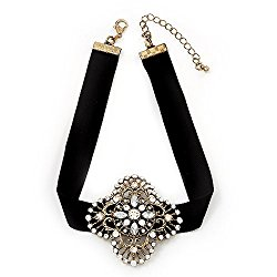 Black Velour Ribbon Diamante Filigree Cross Choker In Burn Gold Tone Metal – 29cm Length (7cm extension)