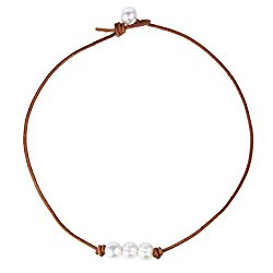 Bonnie Leather Choker Genuine Leather 3 White Pearls Cord Knotted Necklace Handmade Jewelry for Women