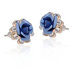 Carfeny Handcrafted Rose Flower Hypoallergenic Zircon Stud Earrings for Women