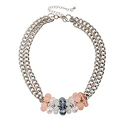D EXCEED Gift Idea Lovely Glass Facet Bead Choker Double Silver Chain Necklace for Women 16″