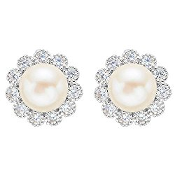 EVER FAITH 925 Sterling Silver 8MM AAA Freshwater Cultured Pearl CZ Elegant Sunflower Stud Earrings