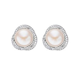 EVER FAITH 925 Sterling Silver CZ 9MM AAA Freshwater Cultured Pearl Elegant Rose Flower Stud Earrings