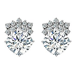 EVER FAITH Women's 925 Sterling Silver Cubic Zirconia Square Cut Solitaire Elegant Stud Earrings Clear