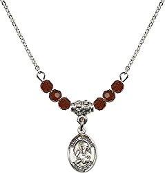 January Birth Month Bead Necklace with Catholic Patron Saint Petite Charm, 18 Inch