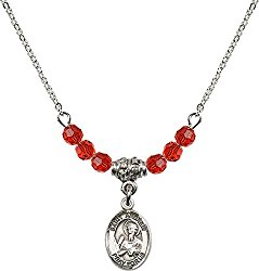 July Birth Month Bead Necklace with Catholic Patron Saint Petite Charm, 18 Inch