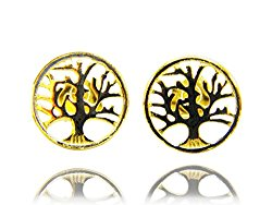 Tree of Life Disk Stud Earrings .925 Sterling Silver Small STUD EARRINGS, Open Filigree TREE OF LIFE – Gift Boxed GREAT GIFT