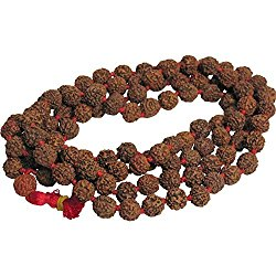 10mm 108 Rudraksha 5-Face Beads Prayer Yoga Meditation Japa Mala Shiva Energy Red Knotted Rosary
