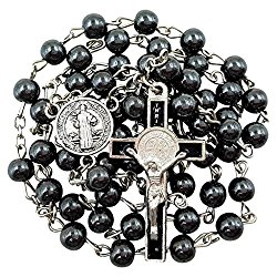 BLESSED CATHOLIC ROSARY NECKLACE Black Hematite Beads Saint Benedict Medal & Cross Crucifix in Gift Box