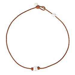 Bonnie Handmade Single White Freshwater Pearl Choker Necklace Bead on Leather 14-19.7″
