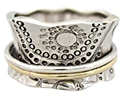 "Energy Stone ""SUN WORSHIP"" Sterling Silver Meditation Spinning Ring (Style# US14)"