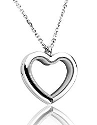 JOVIVI® Floating Charm Memory Locket Heart Glass Pendant Necklace – 316 Stainless Steel Magnetic Closure