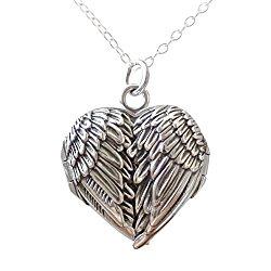 Sterling Silver Angel Wings Heart Locket Necklace, 18″ Chain