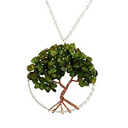 Tree of Life Gemstone Statement Necklace, Long Opera Length Pendant Jewelry
