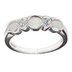 10k White Gold Natural Opal & Diamond Womens Eternity Ring (0.11 cttw, H-I Color, I2-I3 Clarity)