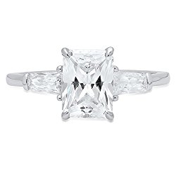 2.20 CT Emerald&Baguette Cut Solitaire 3-Stone Engagement Wedding Anniversary Promise Ring 14K White Gold, Clara Pucci