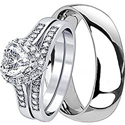 3 Pieces Men's and Women's, His & Hers, 925 Genuine Heart Cut Sterling Silver & Solid Traditional Titanium Engagement Matching Couples Wedding Ring Set