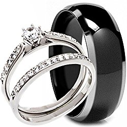 3 Pieces Men's and Women's, His & Hers, 925 Genuine Solid Sterling Silver & Black Titanium Engagement Matching Wedding Anniversary Ring Set
