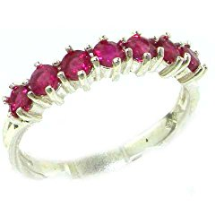 925 Sterling Silver Natural Ruby Womens Eternity Ring – Sizes 4 to 12 Available