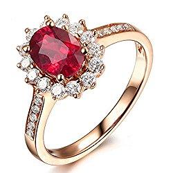 Cyber Monday Black Friday Sale 2015 Prime Deals Genuione Natural Gemstone Red Ruby Bridal 14K Rose Gold Engagement Ring Wedding Promise Setfor Women