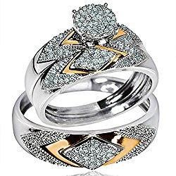 His Her Wedding Rings Set Trio Men Women 14k White Yellow Gold Two Tone(I/j Color 0.4cttw)