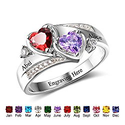 Personalized Couples Simulated Birthstones Promise Heart Rings Engraved Names Engagement Rings for Her
