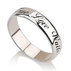 Personalized Purity Ring, 925 Sterling Silver Engraved Promise Ring, Couples Ring ,Wedding Bands, Lovers Rings