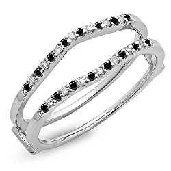 0.18 Carat (ctw) 10K Gold Round Black & White Diamond Ladies Wedding Band Enhancer Guard Double Ring