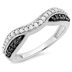 0.30 Carat (ctw) 10K Gold Round Black & White Diamond Ladies Anniversary Band Stackable Ring 1/3 CT