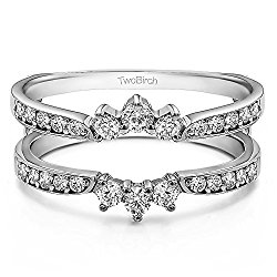 0.56 ct. White Sapphire Crown Inspired Half Halo Ring Guard in Platinum (1/2 ct)(Size 3 -15, 1/4 Sizes)