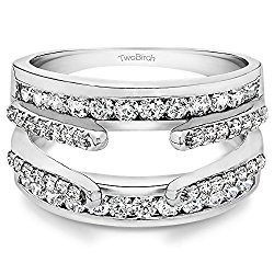 1.04 ct. Diamonds (G-H,I2-I3) Combination Cathedral and Classic Ring Guard in 14k White Gold (1 ct. twt.) (Size 3 to 15 in 1/4 Size Intervals)