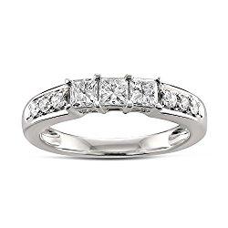 14k White Gold Princess-cut & Round Diamond Bridal Wedding Band Ring (5/8 cttw, H-I, I1-I2)