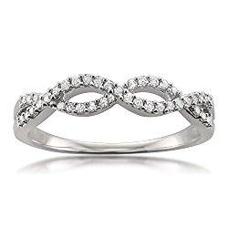 14k White Gold Round Diamond Bridal Wedding Band Ring (1/5 cttw, I-J, I2-I3)