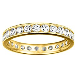 14k Yellow gold Eternity Band with Milgrained Edges set with Diamonds G-H I2-I3 (0.24 ct. twt.)